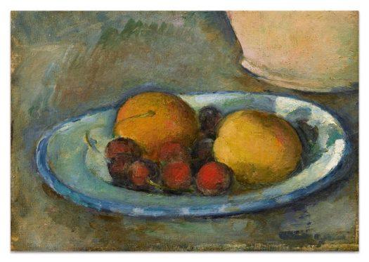 """Paul Cézanne, """"Abricots et Cerises Sur une Assiette"""" (c. 1877–79), oil on canvas, 6 1/4 x 8 3/4 inches (image courtesy Sotheby's)"""
