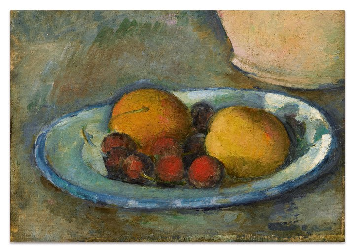 "Paul Cézanne, ""Abricots et Cerises Sur une Assiette"" (c. 1877–79), oil on canvas, 6 1/4 x 8 3/4 inches (image courtesy Sotheby's)"