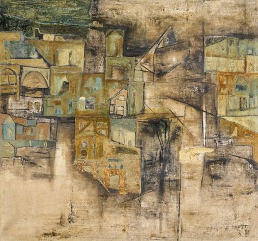"""Ram Kumar, """"Untitled (Benares Ghat)"""" (c. 1960s), oil on canvas, 29 ⅞ x 31 ⅞ inches (image courtesy Sotheby's)"""