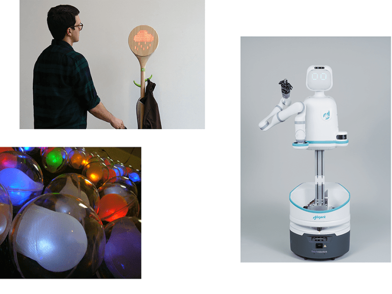 (Top Left): LoSai Clever Coat Rack, 2017 (Bottom Left): NEST Sound Sculpture, 2008 (Right): Moxi Healthcare Robot for Diligent Robotics, 2018.