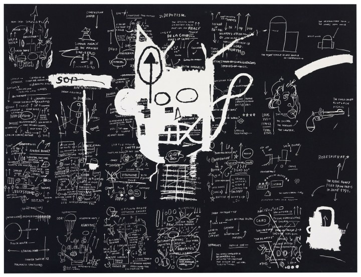 """Jean-Michel Basquiat, """"Untitled"""" (1983), silkscreen ink on canvas, 57 1/2 x 75 1/2 inches (image courtesy Christie's)"""