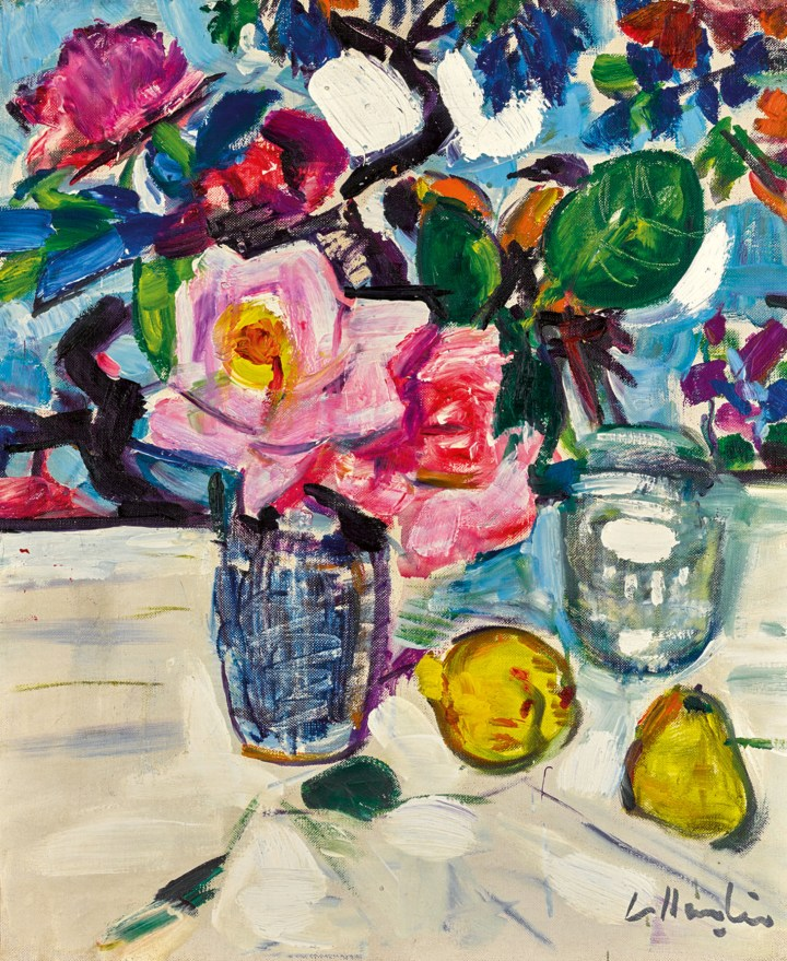 """George Leslie Hunter, """"Still Life with Roses and Fruit,"""" oil on canvas,18 x 15 inches (image courtesy Sotheby's)"""