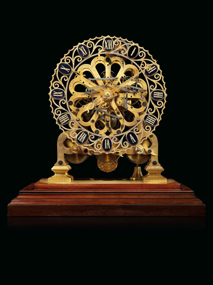 A rare Victorian gilt-brass quarter-chiming giant skeleton clock of month duration, attributed to John Moore & Sons, London, numbered 11403( c. 1851) (image courtesy Christie's)