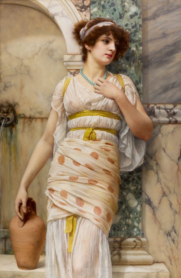 """John William Godward, """"At the Fountain"""" (1893), oil on canvas, 55 x 37 inches (image courtesy Sotheby's)"""