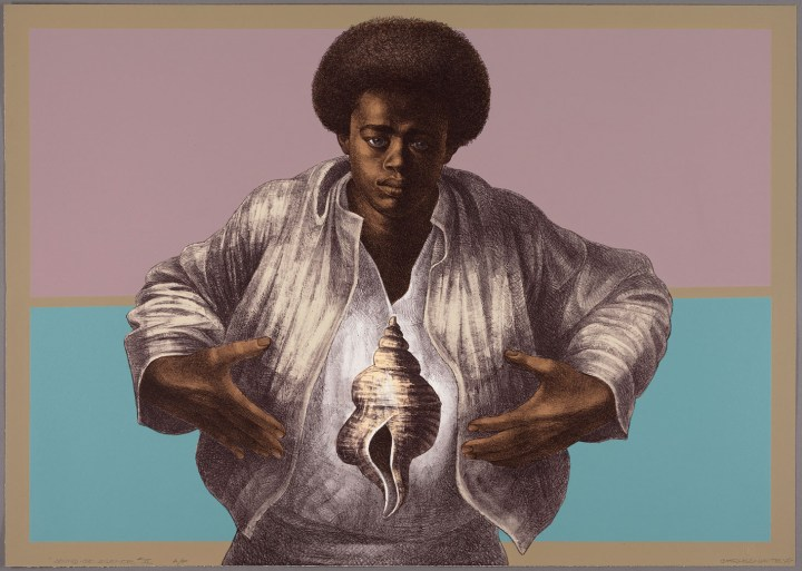 "Charles White, ""Sound of Silence"" (1978), printed by David Panosh, published by Hand Graphics, Ltd., color lithograph on paper, 25 1/8 × 35 5/16 inches (image courtesy The Art Institute of Chicago, Margaret Fisher Fund, © 1978 The Charles White Archives)"