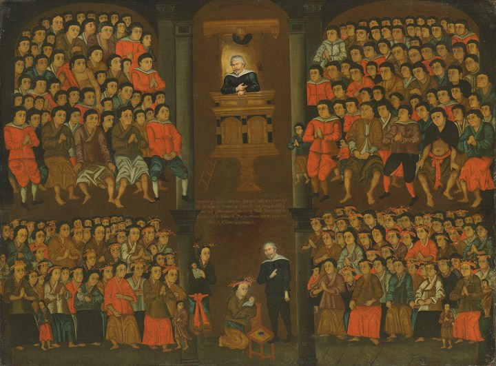 "Chinese School, ""The Dutch missionary Robert Junius baptizing the new Christians at Formosa"" (1643), oil on canvas, 37 1/2 x 50 1/2 inches (image courtesy Christie's)"