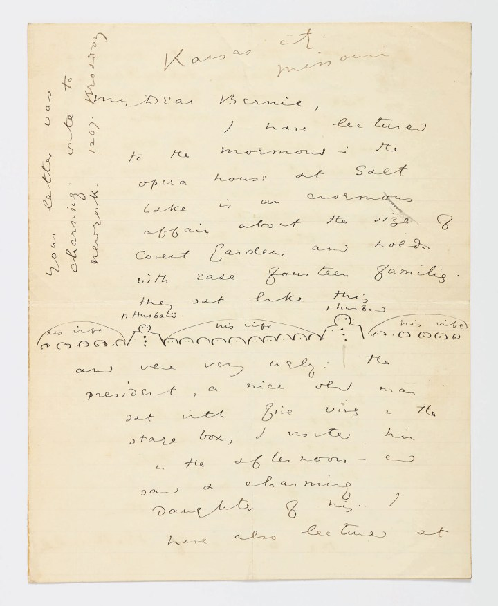"Autograph letter signed ""Oscar Wilde,"" eight pages on two bifolia of different sizes (the smaller one, 9 7/8 x 7 7/8 inches, the larger one, 10 5/8 x 8 5/8 inches), with ink sketch on the first page (image courtesy Sotheby's)"