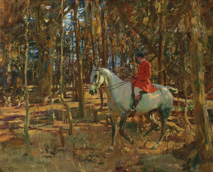 "Sir Alfred James Munnings, ""The whip, Trevelloe Wood, Cornwall,"" 40 x 50 inches (image courtesy Christie's)"