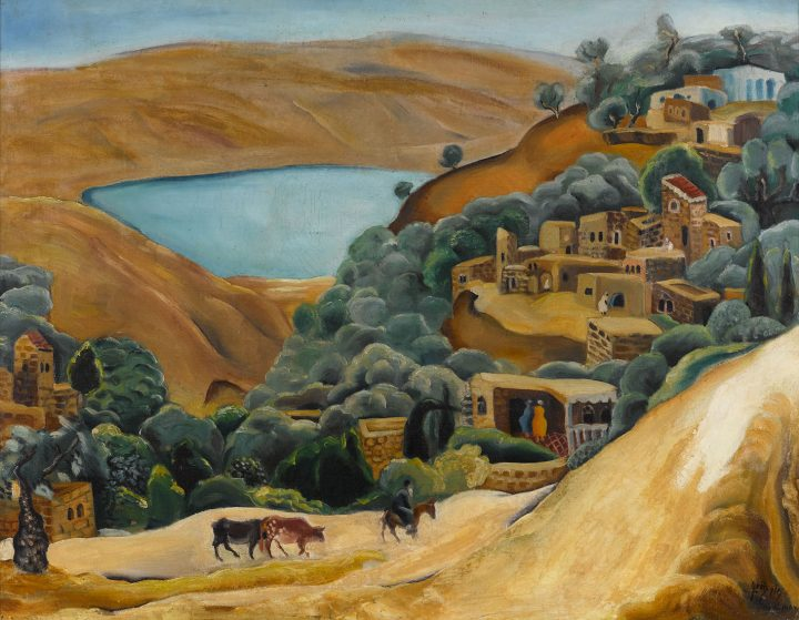 """Nahum Gutman, """"Tiberias Landscape"""" (late 1920s), oil on canvas, 23 by 29 inches (image courtesy Sotheby's)"""