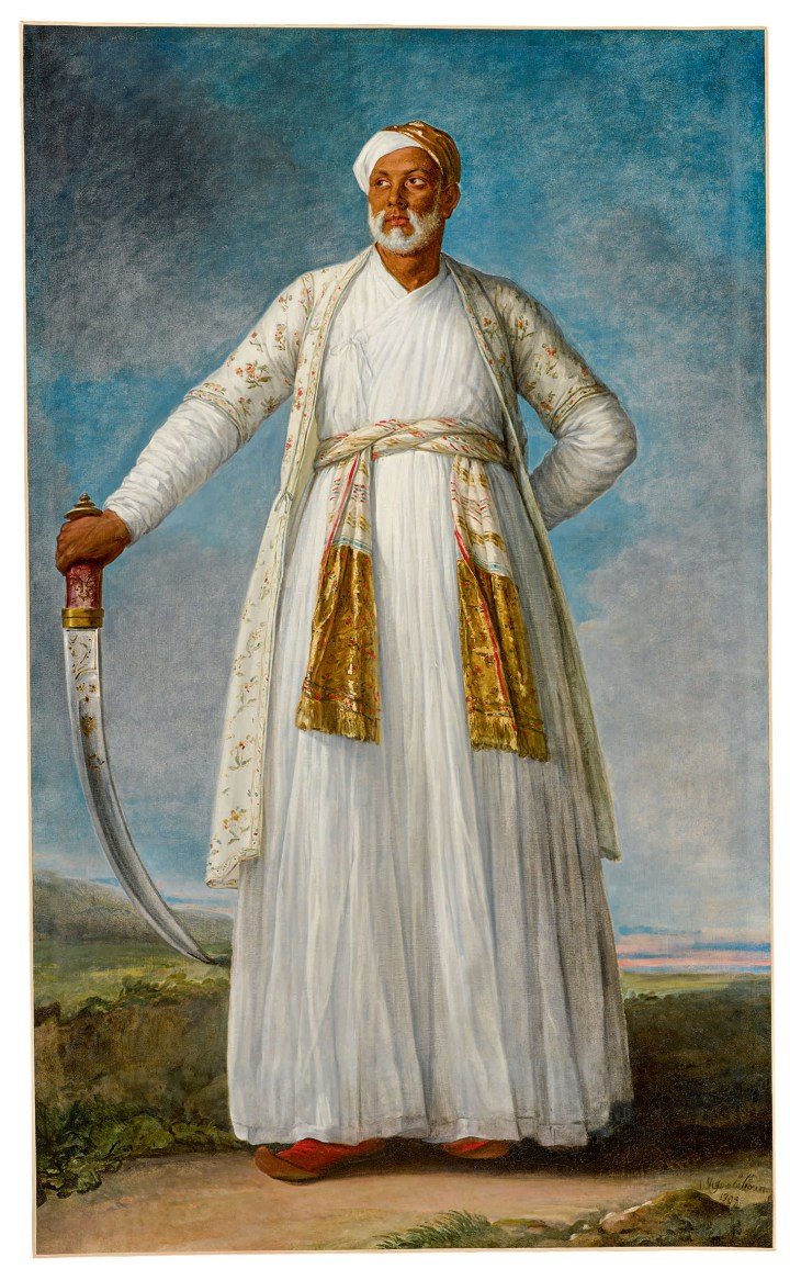 """Elisabeth-Louise Vigée Le Brun, """"Portrait of Muhammad Dervish Khan, Full-Length, Holding His Sword in a Landscape"""" (1788), oil on canvas, 88 3/4 x 55 1/2 inches (image courtesy Sotheby's)"""