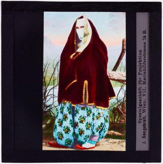 Turkish woman wearing veil (1900), glass lantern slide