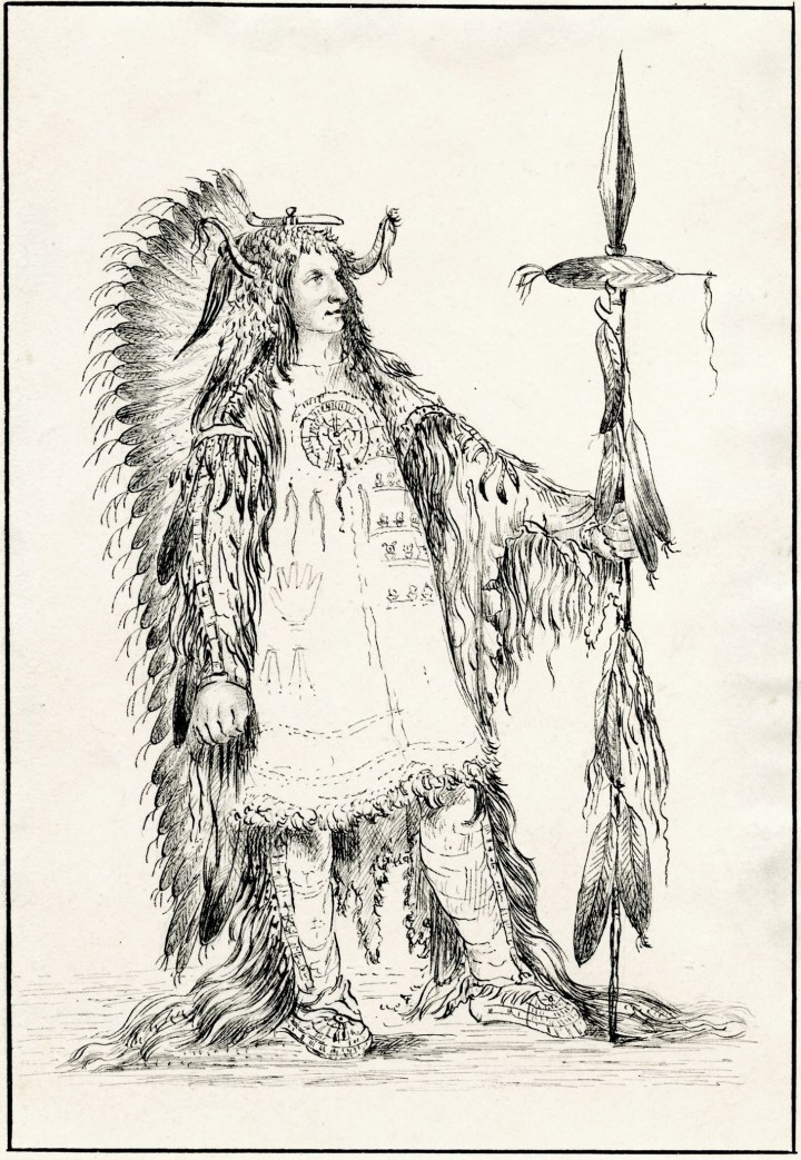"John Caspar Wild, after George Catlin, ""A Mandan Chief: Máh-to- Tóh-Pa (Four Bears)"" (1843), ink on paper, 7 x 7 7/8 inches (image courtesy Penn State and the John Driscoll American Drawings Collection)"