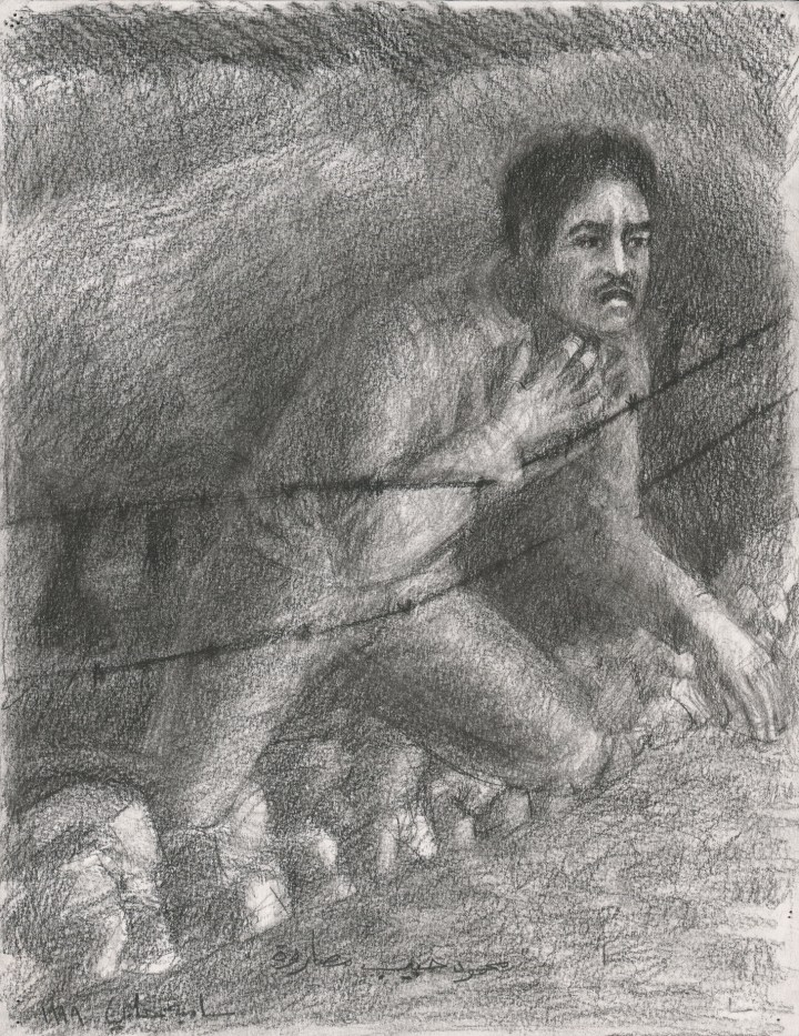 """Samia Halaby, """"Mahmoud Masarwa Challenges the Killers, Ninth Wave of Killing on the Western Road, The Kafr Qasem Massacre of 1956"""" (1999), from the Kafr Qasem series, conté crayon on paper, 32.5 x 25 cm (image courtesy Ayyam Gallery)"""