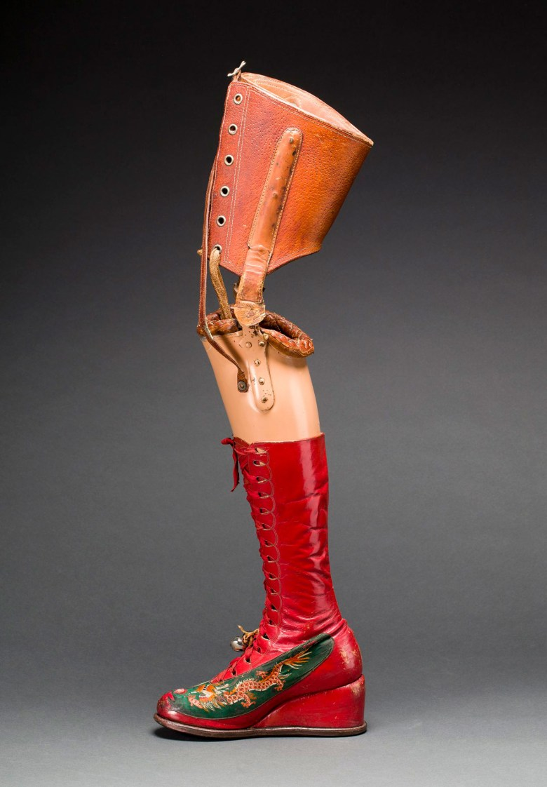 Prosthetic leg with leather boot (Museo Frida Kahlo, © Diego Rivera and Frida Kahlo Archives, Banco de México, Fiduciary of the Trust of the Diego Rivera and Frida Kahlo Museums, photo by Javier Hinojosa, image courtesy V&A Publishing)