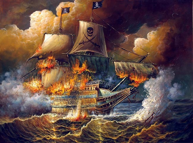 Fine-Oil-painting-seascape-Burning-pirate-ship-ocean-waves-in-sunset-canvas.jpg
