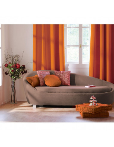 decostars rideau occultant 8 œillets polyester 140 x 240 cm orange
