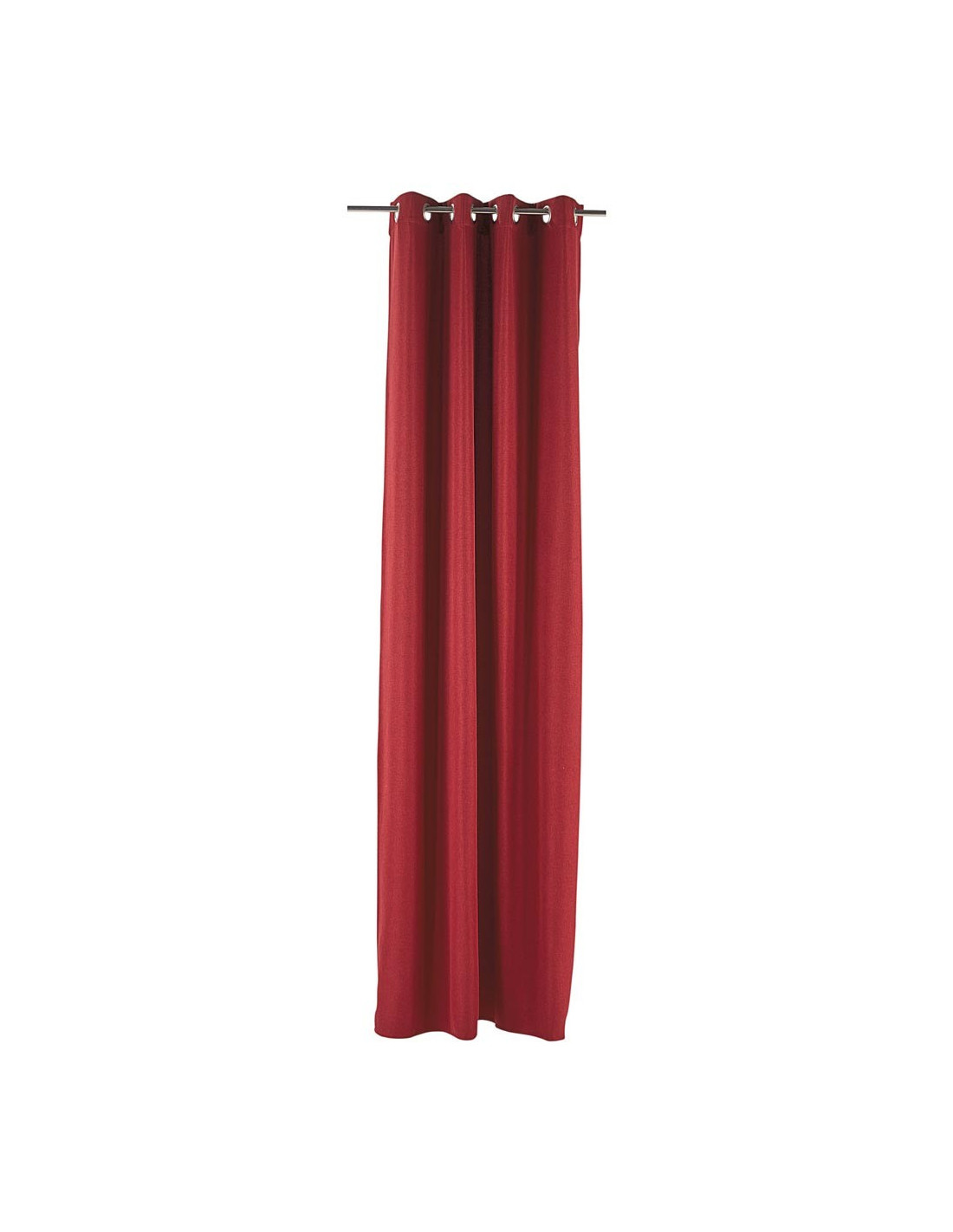diffusion rideau occultant a oeillets effet lin uni rouge 140 x 260 cm 100 polyester