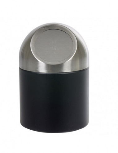 Diffusion 515278 Mini Poubelle De Salle De Bain Metal Noir Gris Dim O12 X H 17 5 Cm