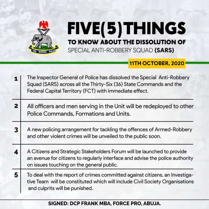 Five(5)things To Know About The Dissolution Of Nigeria's Special Anti-robbery Squad (SARS)