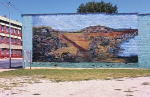 Mural of Osage Indian camp, Oswego, Kansas. The Osage basin extends several hundred miles into eastern Kansas, and there is recognition by locals of that fact. (click to enlarge)