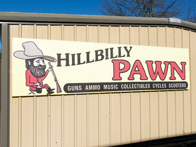 Hillbilly pawnshop, Hollister, Missouri just across little ol' Turkey Creek from little ol' Branson.