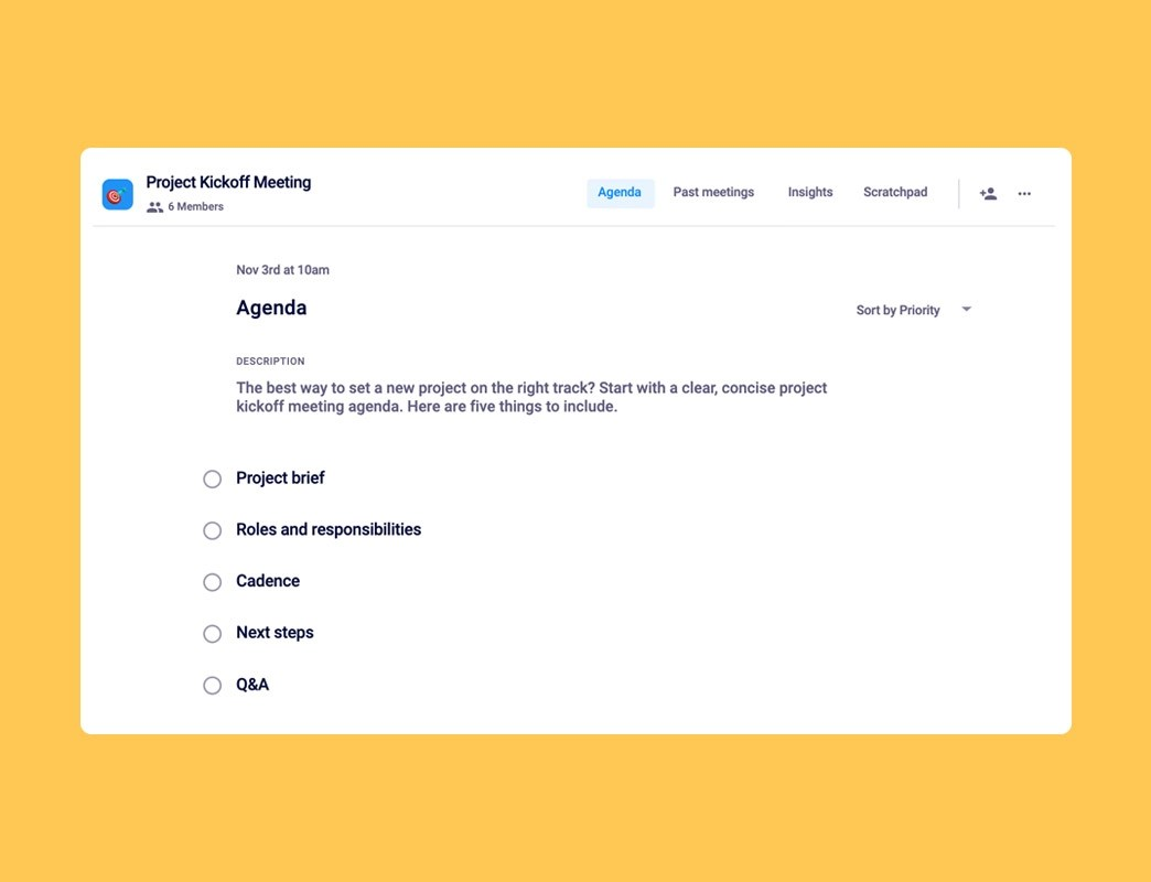 These slides come in the form of lists, which can be filled out to create slides with your meeting agenda, summary of important points and to elaborate upon each point in detail. Project Kickoff Meeting Agenda Template Hypercontext