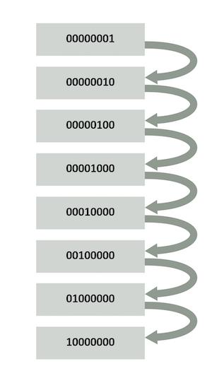 A walking 1s test for an 8-bit memory sequentially verifies each bit.
