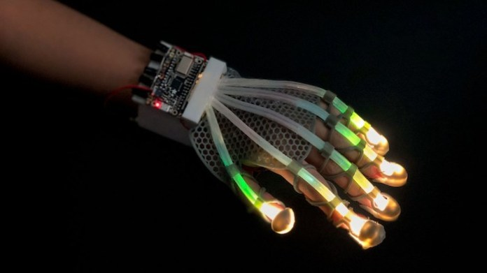 An image of a prosthetic glove using fiber-optic sensors.