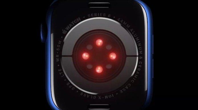 An image of Apple's blood oxygen sensor on their Apple Watch 6