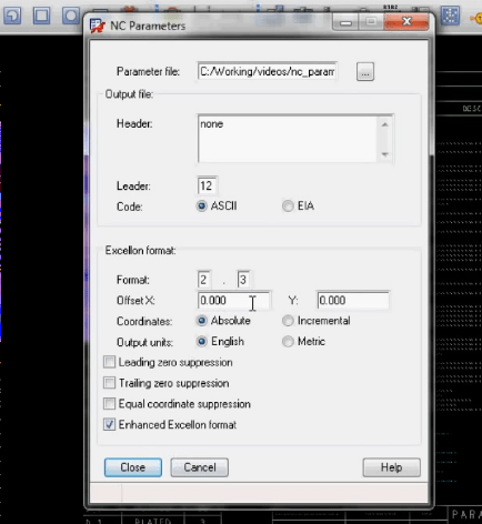 Setting up NC parameters in Allegro