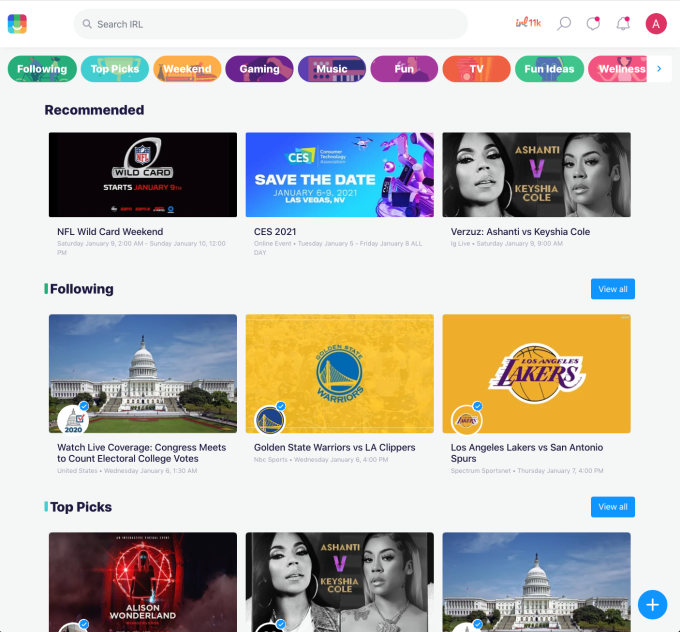 now with over 10m monthly users irl turns its events website into a social network 2 hyperedge embed