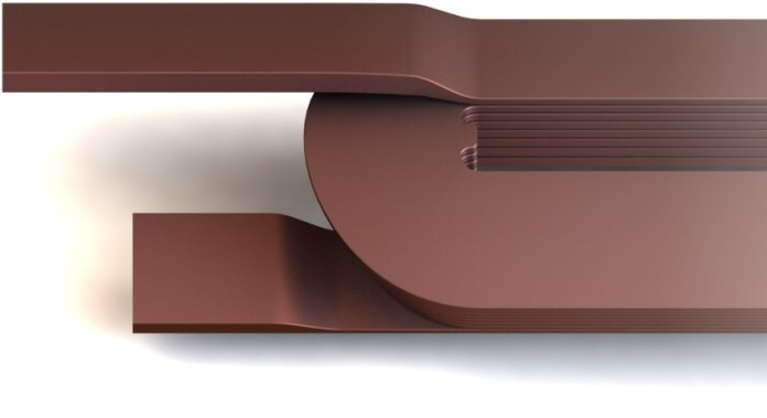 CG render of 3D printed copper coils.