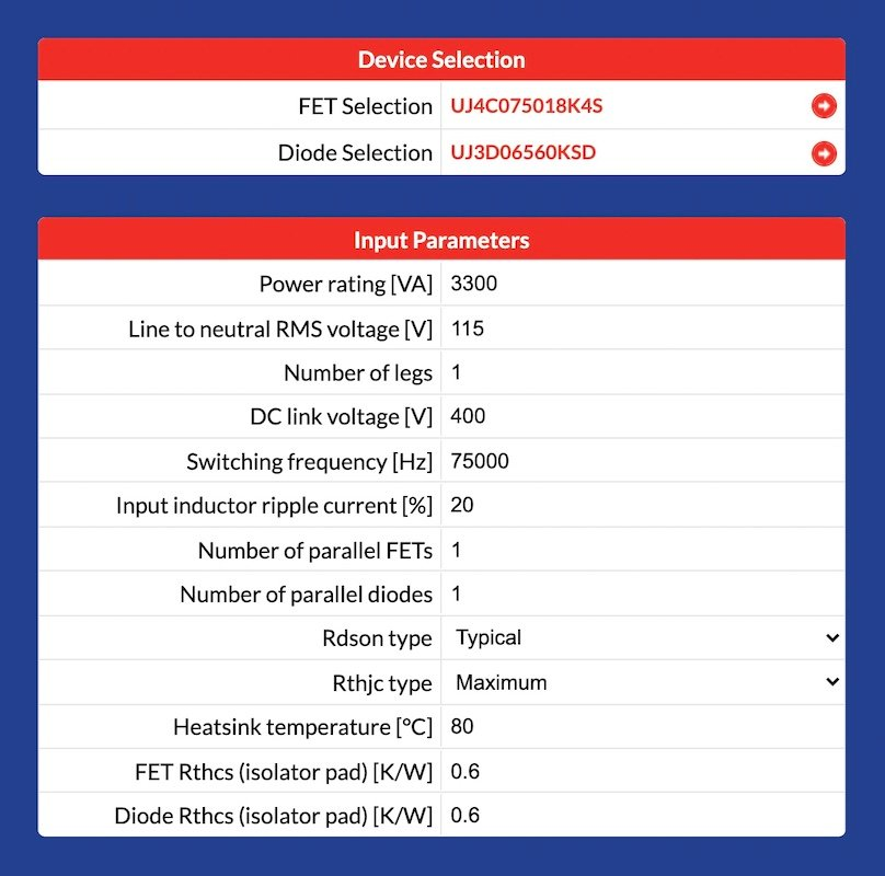 Input parameters and device selection for a boost converter from the FET-Jet calculator