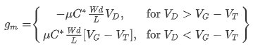 The transconductance equation for OECTs