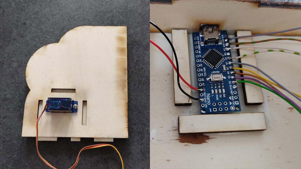 Arduino Nano and servo in steampunk tea maker project