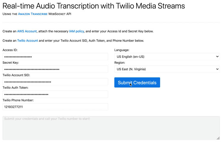 perform medical transcription analysis in real time with aws ai services and twilio media streams 21 hyperedge embed image