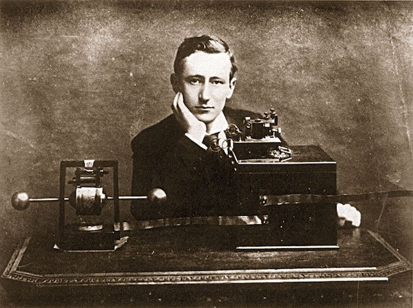 Marconi and his transmitter.