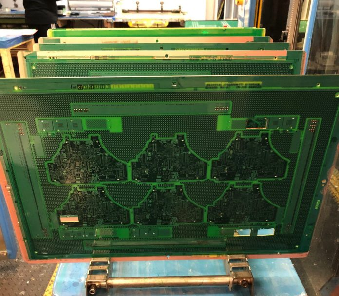 PCB panels coated with solder mask