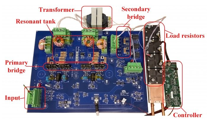 Test setup of the series resonant converter with active ZVS-based soft-switching enabling wide load operation.