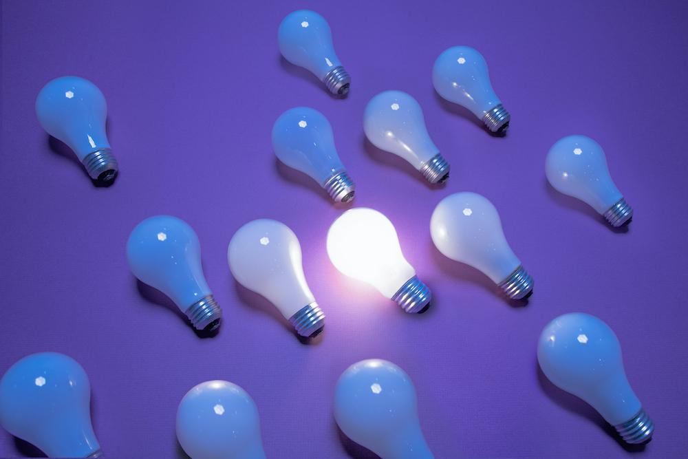 One of 14 incandescent lightbulbs lit on purple surface