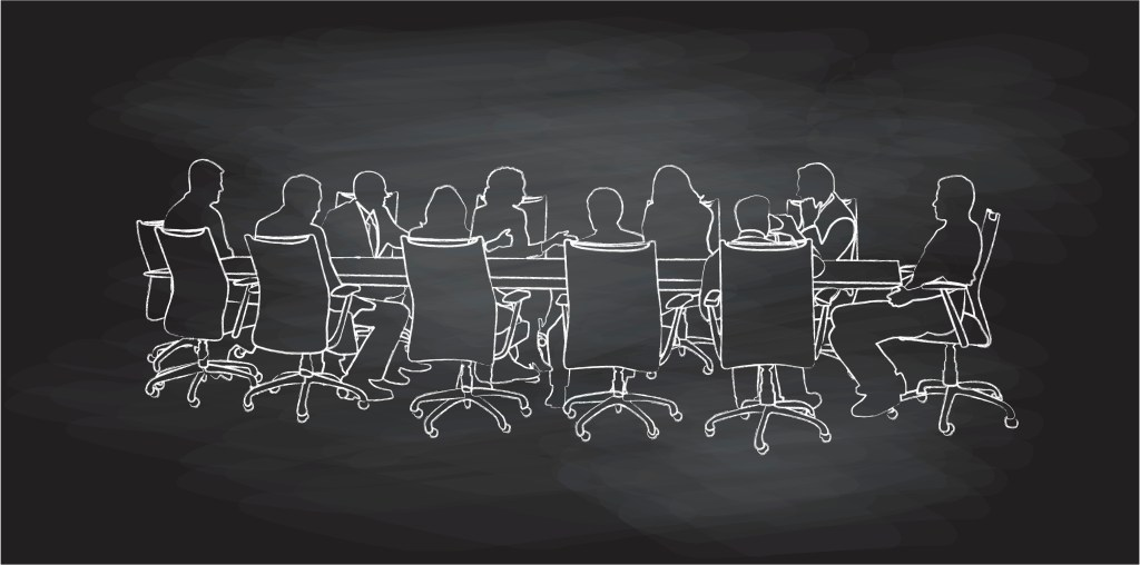 Image of a chalkboard illustration of a board of directors meeting.