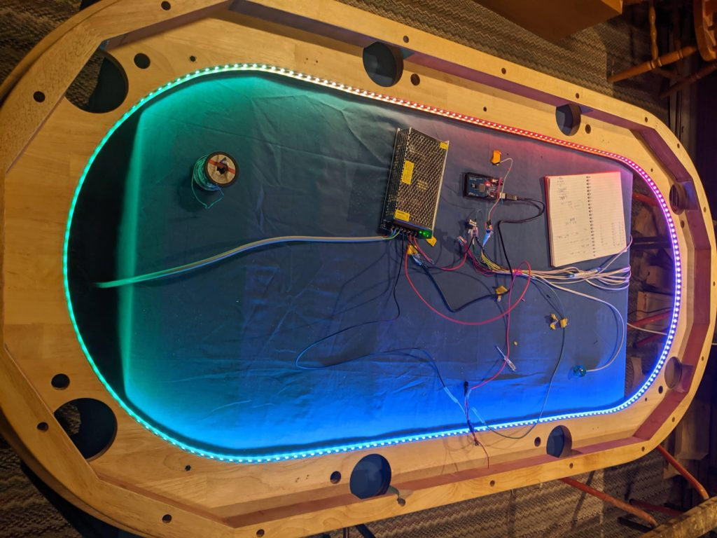 old dining table converted into the ultimate poker table using arduino and leds 1 hyperedge embed