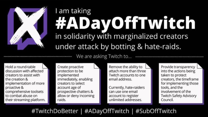 streamers are boycotting twitch today to protest the platforms lack of action on hate raids hyperedge embed