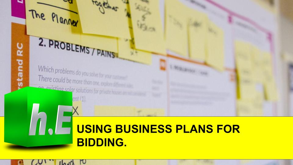 USING BUSINESS PLANS FOR BIDDING.