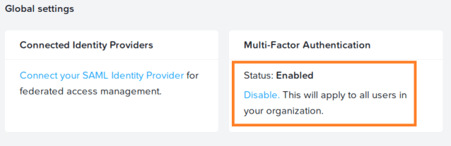 Disable Multi-factor Authentication on nutanix portal