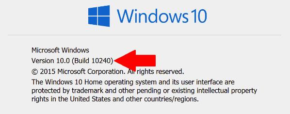 Windows 10 build number or version