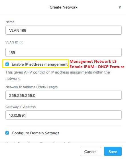 Nutanix Enable IP Address Management IPAM L3 Feature