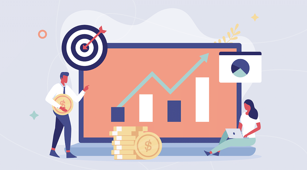 Two vector characters sit in front of a chart