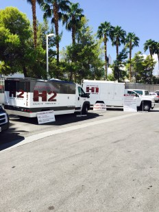 Hypervac duct trucks parked outside for convention