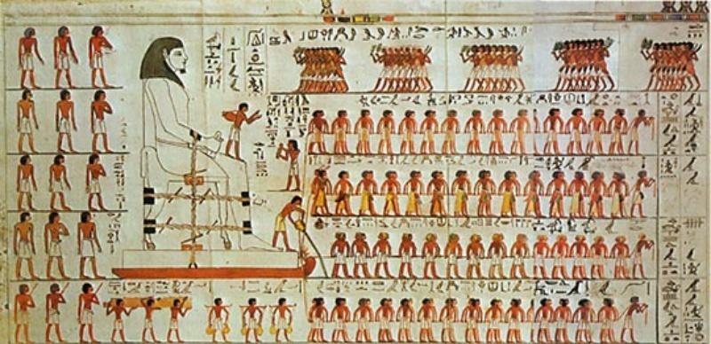 Wandtekening tombe Djehoetihotep